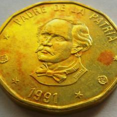 Moneda 1 Peso - republica DOMINICANA, anul 1991 *cod 4477, America Centrala si de Sud