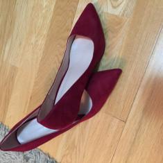 Pantofi cu toc red stiletto - Pantof dama Zara, Culoare: Burgundy, Marime: 40