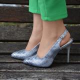 Sandale cu toc inalt, varf ascutit , argintii (Culoare: ARGINTIU, Marime: 38)