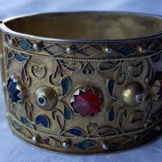 Bratara argint TRIBALA afghana poleita cu aur UNICAT Splendida de Efect RARA - Bijuterie veche