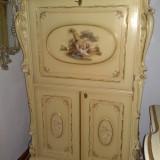 Secretaire/comoda tv/bar/birou stil baroc venetian, Silik, lemn masiv nuc pictat, Comode si bufete, Dupa 1950