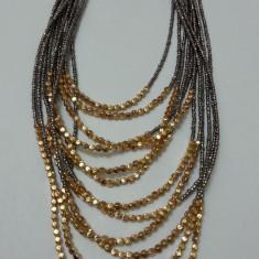 Colier din margele negre, gri, cu lant reglabil (Culoare: GRI) - Colier fashion