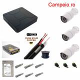 Kit complet supraveghere Peyo AHD 3 camere rezolutie HD 1080p si infrarosu la 30 m, HDD 1 TB, cablu 30m, mufe, vizualizare pe telefon, acces internet