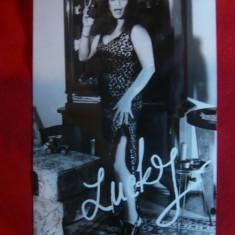 Fotografie cu autograf tiparit a cantaretei Lucky Marinescu, anii '70