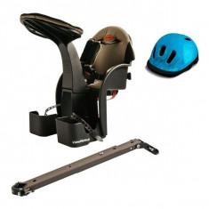 Scaun De Bicicleta Deluxe Si Casca Protectie Flames Albastru Weeride Wr03a - Accesoriu Bicicleta