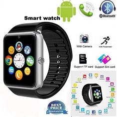 Smartwatch Ceas inteligent GT08 cu SIM, SD card, Camera, Bluetooth - Noi La Cutie., Aluminiu, Negru, Tizen Wear