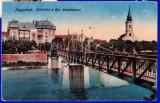 Oradea Nagyvarad,pod peste Cris,biserica reformata CP circulata, Printata