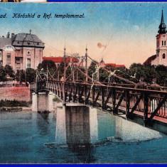 Oradea Nagyvarad, pod peste Cris, biserica reformata CP circulata - Carte Postala Crisana 1904-1918, Printata