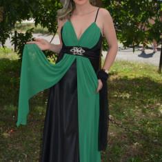 Rochie din saten negru cu detalii din voal verde, model lung (Culoare: NEGRU-VERDE, Marime: 40) - Rochie de seara, Maxi, Cu bretele, Satin
