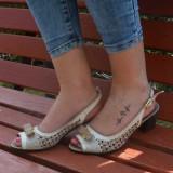 Sandale originale din piele naturala,cu perforatii, bej cu maro (Culoare: ALB, Marime: 36)