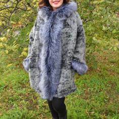 Jacheta gri lejera de toamna, primavara, cu insertie de blana (Culoare: GRI, Marime: 54) - Jacheta dama