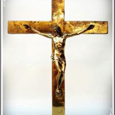 CRUCE / CRUCIFIX ORTODOX VECHI - ISUS HRISTOS - CONFECȚIONAT INTEGRAL DIN ALAMĂ!