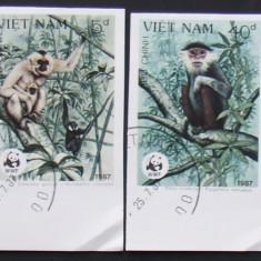 VIETNAM - MAIMUTE WWF, 4 VALORI NEDANTELATE, OBLITERATE - VO 20