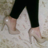 Pantofi stiletto nude, toc 10 cm, platforma 1cm