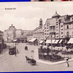 Oradea, Nagyvarad Bremer-ter, animata, tramvai, caruta, birja, ilustrata circulata - Carte Postala Crisana 1904-1918, Printata
