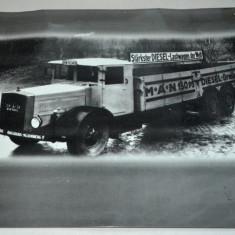Fotografie de epoca litografiata MAN Diesel Lastwagen Truck Nostalgia shield, Alb-Negru, Transporturi, Europa