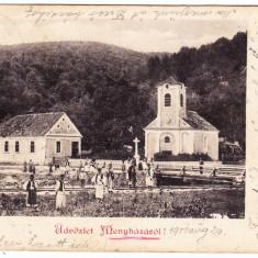 Moneasa j. Arad,Menyhaza, CP clasica circulata 1901 perfecta,animata,RARA