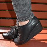 Pantof deosebit piele naturala fina, culoare neagra, talpa plina (Culoare: NEGRU, Marime: 36)