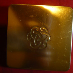 Cutie metalica pt.tutun T Dewar, J.Dewar, JA Dewar, capac aurit, 10x10cm