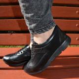 Pantof trendy cu siret si talpa usoara, din piele naturala neagra (Culoare: NEGRU, Marime: 38)