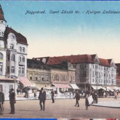 Oradea, Nagyvarad piata Sz.Laszlo carte postala animata, aprox.1918 necirculata - Carte Postala Crisana 1904-1918, Printata