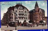 Oradea hotel Vulturul negru,Nagyvarad Fekete sas CP circulata 1916,tramvai,birja