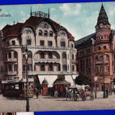 Oradea hotel Vulturul negru, Nagyvarad Fekete sas CP circulata 1916, tramvai, birja - Carte Postala Crisana 1904-1918, Fotografie