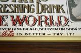 Reclama vintage pe oglinda Coca-Cola 5 cents - serigrafie (33,5cm x 26cm) (b)