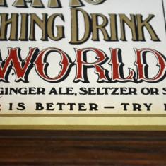 Reclama vintage pe oglinda Coca-Cola 5 cents - serigrafie (33, 5cm x 26cm) (b) - Reclama Tiparita