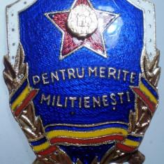 I.008 INSIGNA ROMANIA MILITIA RSR PENTRU MERITE MILITIENESTI 35/27mm email, Romania de la 1950
