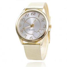 Ceas de dama casual cu inimioare, fashion, simplu curea din inox auriu - Ceas dama Geneva, Quartz, Analog