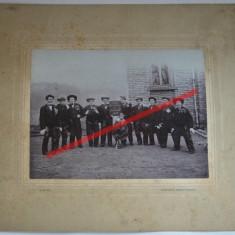 Fotografie veche de grup pe carton, Fastnacht Erinnerung 1905, Alb-Negru, Sarbatori, Europa