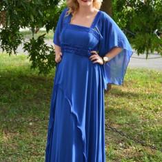 Rochie superba de gala, pe un albastru regal, cu design modern (Culoare: ALBASTRU, Marime: 50) - Rochie de seara, Maxi