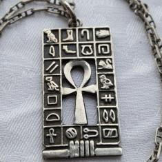 Medalion argint CRUCE EGIPTEANA cu multe Simboluri Egiptene RAR pe Lant argint