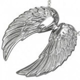 Stainless steel pendant - structured angel wings - Pandantiv inox