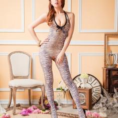 BS253-99 Lenjerie sexy tip bodystocking cu imprimeu animal - Lenjerie sexy dama, Marime: S/M