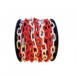 Lanț plastic pe tambur Strend Pro, lungime 25 m, grosime 6 mm, alb/rosu