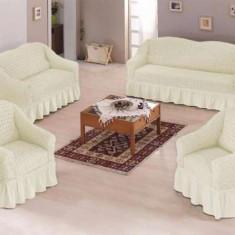 Set huse canapea si fotolii bumbac elasticizat si creponat - 3.1.1 Krem - Husa pat