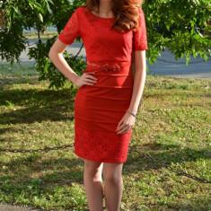 Rochie rafinata, de culoare rosie, cu dantela (Culoare: ROSU, Marime: 36) - Rochie de seara, Scurta