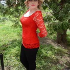 Bluza de ocazie din dantela (Culoare: ROSU, Marime: 42) - Bluza dama
