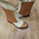 Superbe cizme TIMBERLAND Boot Company originale handmade piele+tesut 41 - Cizma dama Timberland, Culoare: Camel, Piele naturala