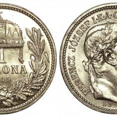 UNGARIA 1 KORONA COROANA 1915 ARGINT NECIRCULATA UNC, Europa