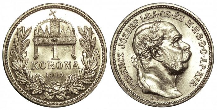 UNGARIA 1 KORONA COROANA 1915 ARGINT NECIRCULATA UNC