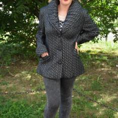 Jacheta de toamna, primavara, neagra, cu nasturi si buzunare (Culoare: NEGRU, Marime: 46) - Jacheta dama