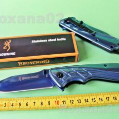 CUTIT BRICEAG Browning. Excelent. Blue Titanium Face, Full Metal. Albastru, Cutit tactic