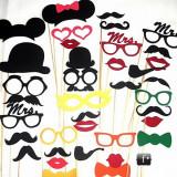 Accesorii amuzante pentru nunti si botezuri mustati, buze, ochelari