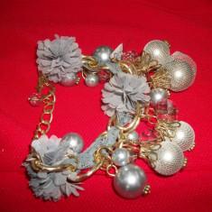 Bratara ultamoderna din perle, margele si cristale gri (Culoare: TURCOAZ) - Bratara din margele