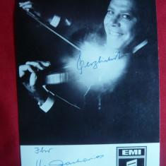 Fotografie de Studio a Violonistului Helmut Zacharias, cu autograf