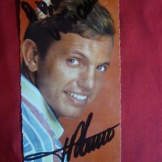 Fotografie de Studio a cantaretului francez Frank Alamo, autograf si dedicatie