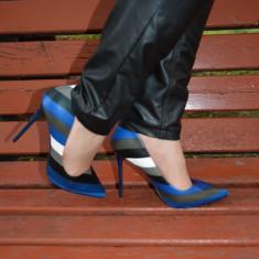 Pantof cu toc inalt, comod, cu design elegant, culoare albastru (Culoare: ALBASTRU, Marime: 36) - Pantof dama